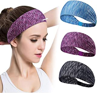 4PCS Women Workout Headband Lightweight Soft Wicking Stretchy Head Wrap Ideal for Sports/Yoga/Pilates/Dancing/Running/Cycl...