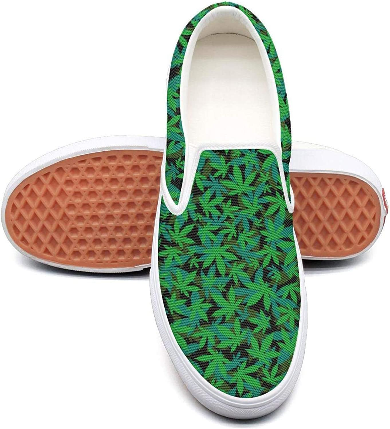 Uieort Green Cannabis Art Wall Womens Slip On Loafers shoes Rubber Sole