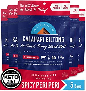 Kalahari Biltong | Air-Dried Thinly Sliced Beef | Spicy Peri Peri | 2oz (Pack Of 5) | Sugar Free | Keto & Paleo | Gluten Free | Better Than Jerky