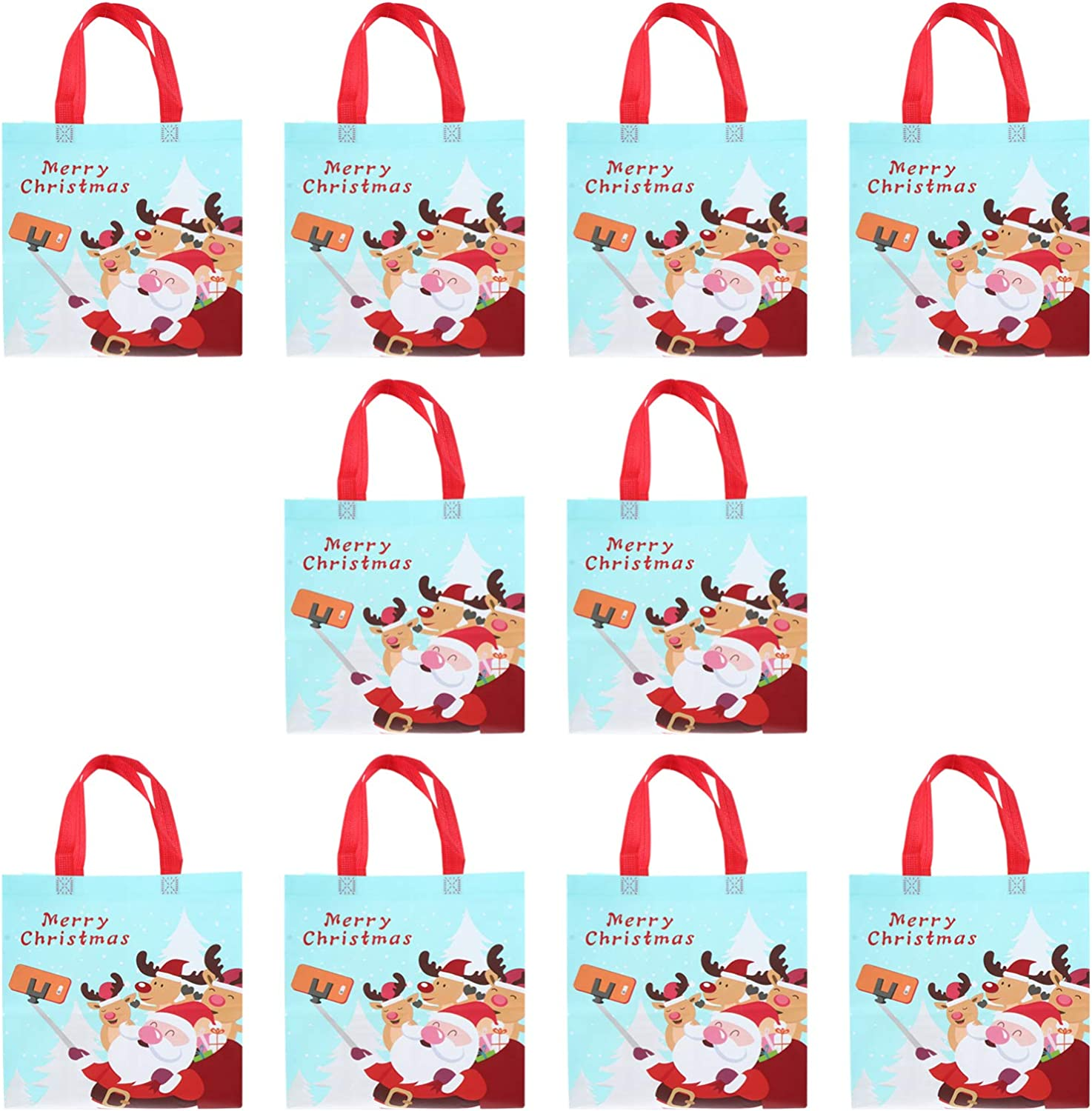 VALICLUD Recommended 10Pcs Christmas Tote Ranking TOP5 Bags Holiday Grocery Bag Nonwovens
