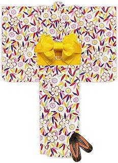 浴衣 こども 女の子 浴衣 セット 120 レトロ モダン子供浴衣 作り帯 下駄 3点セット「生成り 笹と梅」TSW11-821-setC
