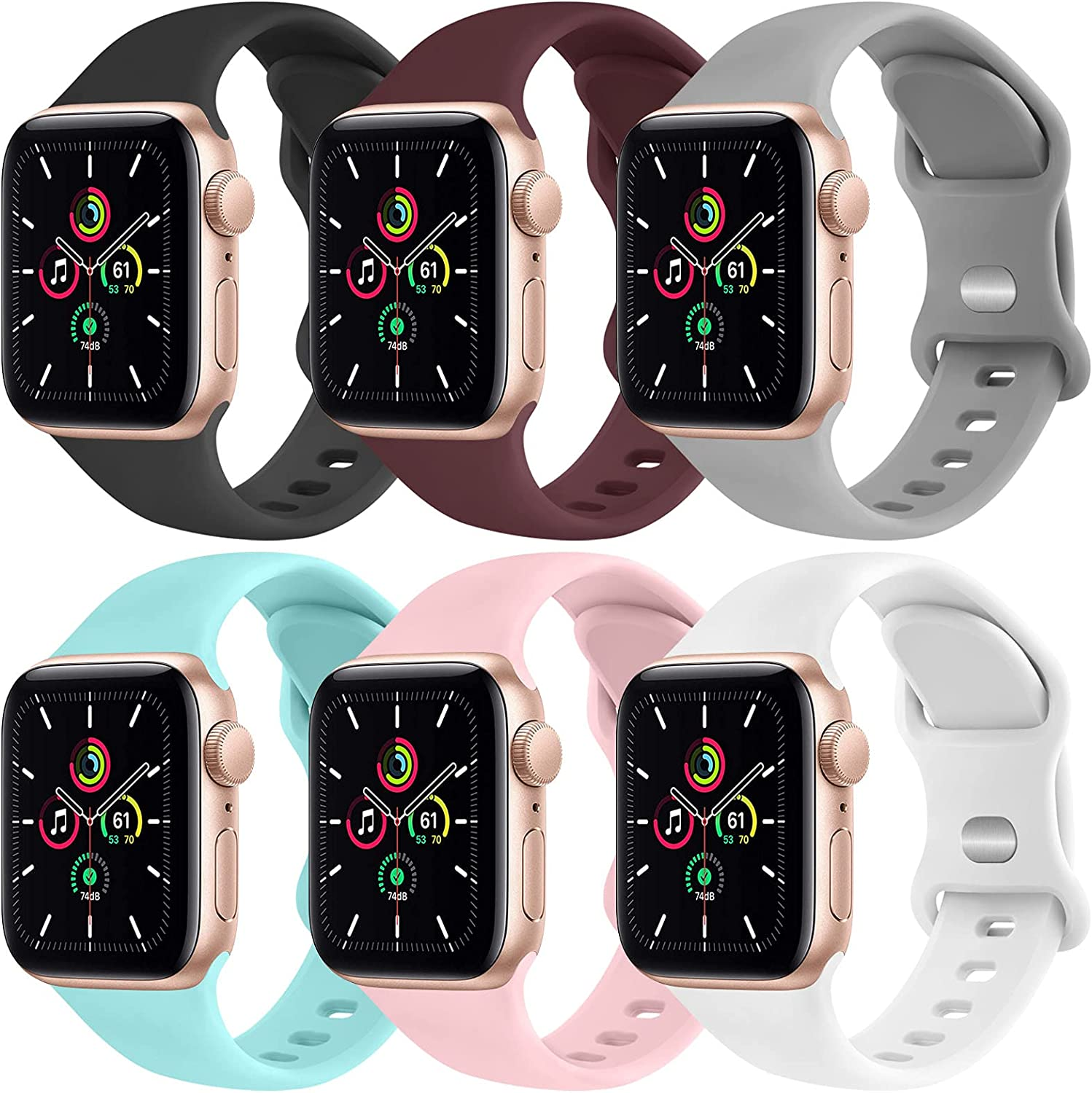 [6 Pack] Yisica Silicone Bands Compatible with Apple Watch Band 40mm 38mm 44mm 42mm for Women Men, Sport Wristbands for iWatch Series SE/6/5/4/3/2/1