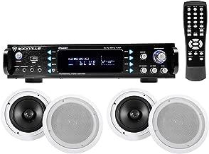 (4) Commercial Ceiling Speaker System+Bluetooth Amp/Receiver 4 Restaurant/Office
