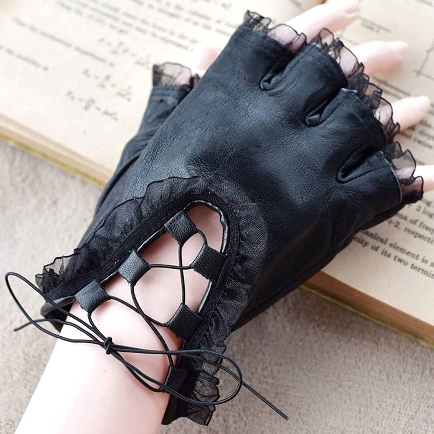 Thin Gloves Ladies Leather Lace-Trimmed Lace Pu Half Finger Gloves Warm Gloves (Color : Black)