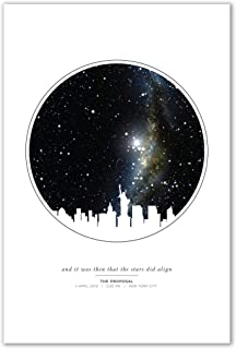 Personalized Night Sky Star Map Unframed Print with City Skyline