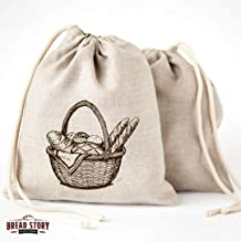 Linen Bread Bags - 3 Pack 30 x 40 Speical Art Design Unbleached Linen Reusable Food Storage for Homemade Artisan Bread