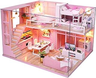 Ogrmar 1:24 Scale Dollhouse Miniature with Furniture, DIY Dollhouse Handmade Mini Apartment Model Kit Plus Dust Cover & LE...