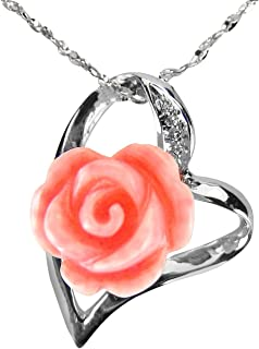 Simulated Coral Rose Heart Shaped Silver Pendant Necklace