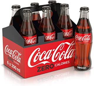 Coca-Cola Zero Carbonated Soft Drink, Glass Bottle, 290 ml (Pack of 6)