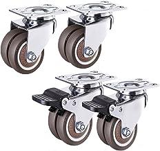Meubelwiel, universeel wiel & remslot universele wielcombinatie, 4 stuks mute dubbele rij wiel wielen, 1,5 inch/2 inch een...