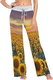 XiangHeFu Pantaloni Pigiama da Donna, Pantaloni da Yoga, Leggings Inferiori, Pantaloni da Salotto a Vita Alta, Campo di Fi...