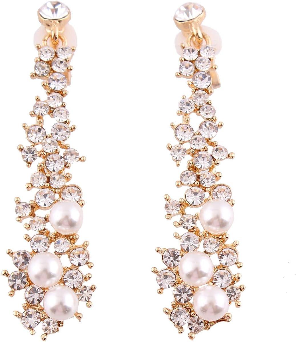Grace Jun Luxury Bridal Rhinestone Clip on Earrings Non Piercing for Women Large Statement Earrings