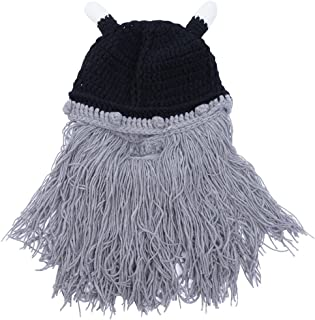 Wiwsi Men Boys Warm Knitted Wig Beard Hat Barbarian Looter Crochet Beanie Caps