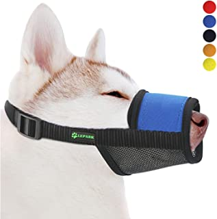 Soft Dog Muzzle with Hook & Loop for Small, Medium and Large Dogs,Prevent from Biting, Barking and Chewing, Adjustable