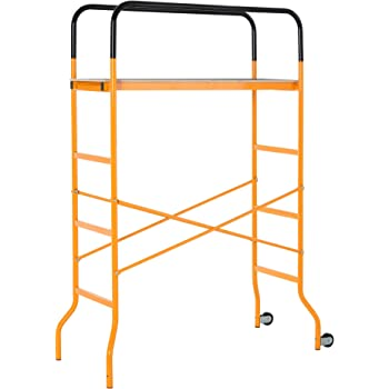 HOMCOM 4-Step Steel Scaffold Organizer Platform 2 Wheels Free Moving for Indoor/Outdoor Decoration Anti-Skid 45.25''x22.5''x70.75''