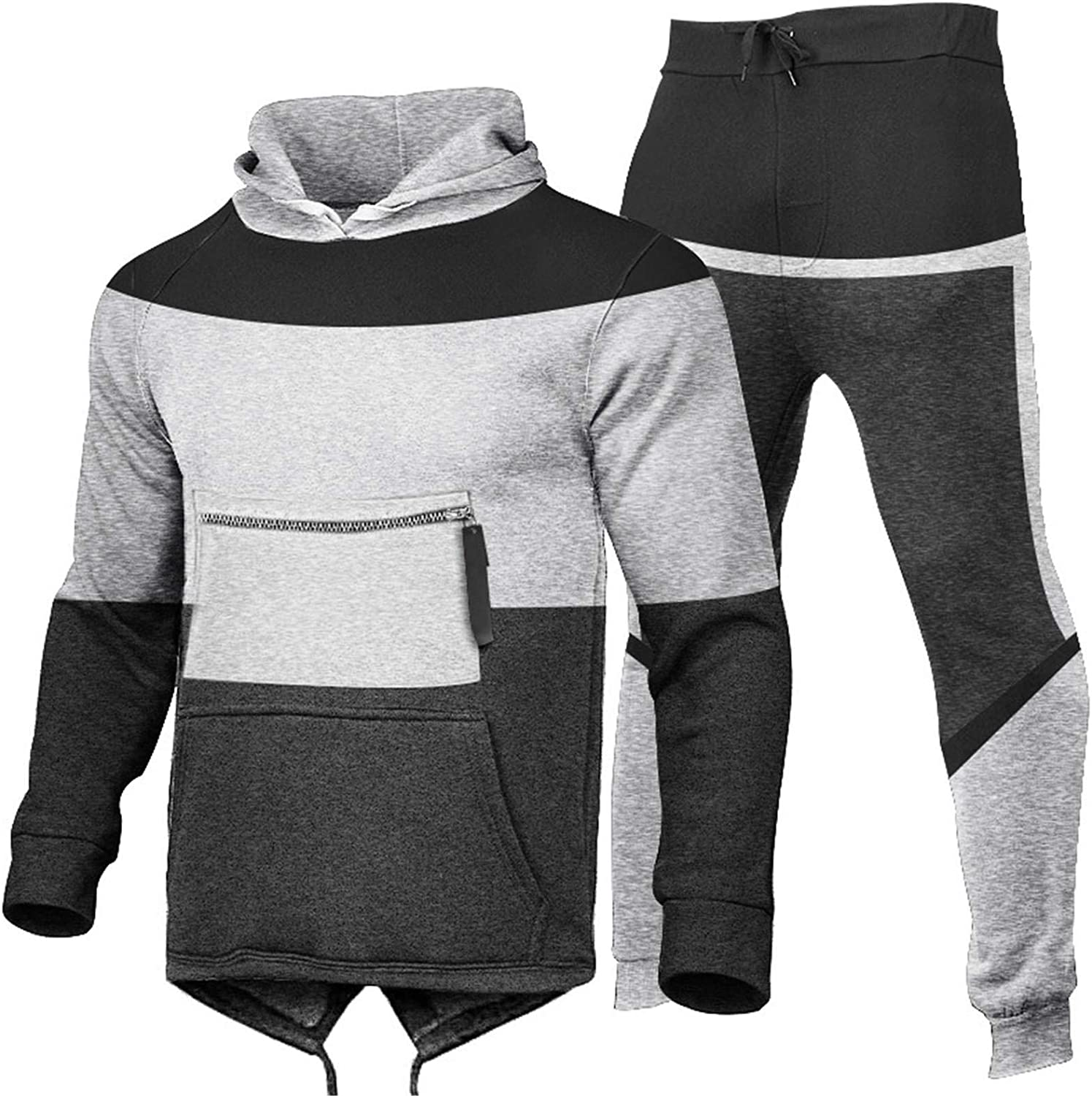 Men's 2 Piece Hoodies Tracksuit Sets Casual Full Zip Long Sleeve Running Jogging Sports Athletic Sweat Suits