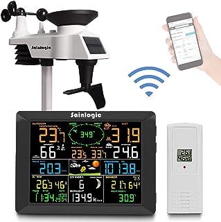 Sainlogic Professioneel wifi-weerstation, smart wifi, internet, draadloos weerstation met groot kleurendisplay van 8 inch ...