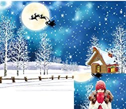 Allenjoy Blue Winter Christmas Snowflake Backdrop Sleigh Full Moon Santa Cabin Merry Xmas Party Decor Outdoor Wonderland Snow Night Tree Baby Kids Photoshoot 7X5ft Background Photo Booth Props