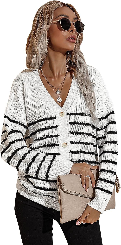 BIUBIU Women's V Neck Button Down Long Sleeve Striped Colorblock Knit Cardigan Sweaters Outerwear Tops