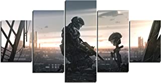 TYHC Halo Video Game Art Canvas Posters Home Decor Wall Art 5 Pieces Paintings for Living Room HD Prints Pictures (M,Unfra...