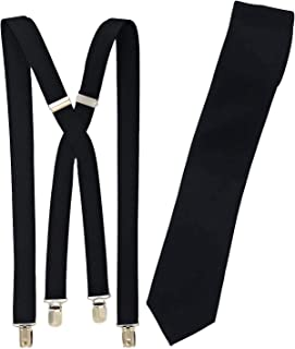 Spencer J's Skinny Neck Tie and Suspender set Variety of Colors