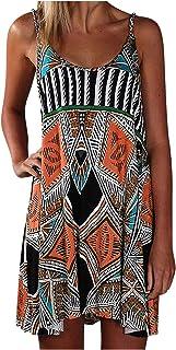 SLENDIPLUS Mini vestido feminino verão plus size casual curto Boho praia férias, Laranja, XXG