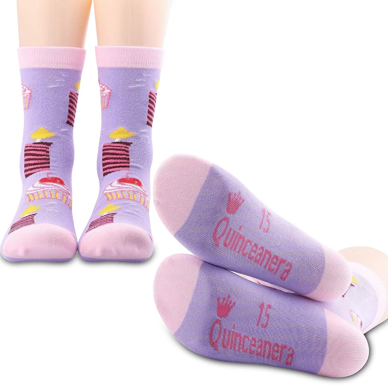 PXTIDY Sweet 15 Gift 15 Quinceañera Birthday Socks Anos Quinceanera Gift for Girls Fifteenth Birthday