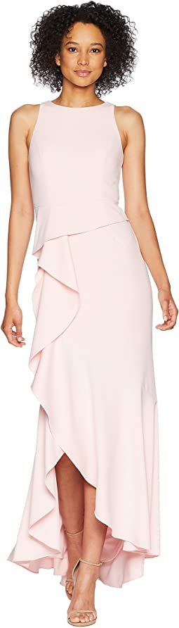 Sleeveless Long Knit Crepe Gown with Cascade Skirt Detail