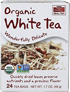 NOW Foods, Certified Organic White Tea, Wonderfully Delicate, Quickly-Dried to Preserve Nutrients and Flavor, Premium Unbl...