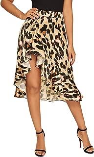 Verdusa Women's Ruffle Trim High Split Leopard Print Midi Skirt