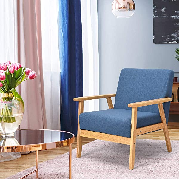 Giantex Mid Century Modern Child Armchair W Armrests Sturdy Durable Rubber Wood Club Chair W Cushions Wood Frame Linen Arm Chair Solid Wood Frame Low Lounge Armchair Blue