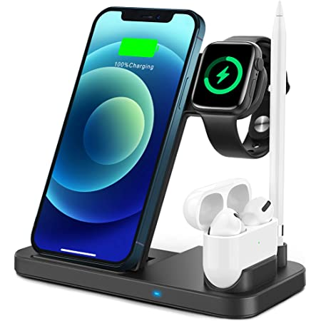 TEMINICE 4 in 1 Wireless Charger for Apple Watch & AirPods & Pencil Charging Dock Station, Nightstand Mode for iWatch Series SE/6/5/4/3/2/1, Fast Charging for iPhone 12/11/Pro Max/XR/XS Max/Xs/X/8/8P