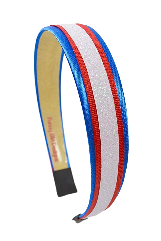 Football Team Fan Glitter and Grosgrain Arch Headband Buffalo Colors Nautical Blue Red and White