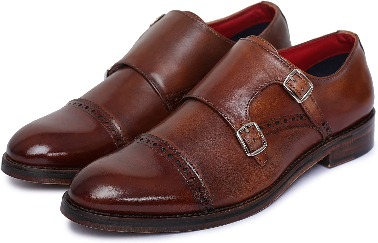 Lethato Handcrafted Men's Captoe Double Monk Strap Genuine Leather Modern Classic Dress shoes