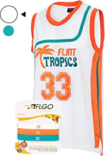 AFLGO Moon #33 Flint Tropics Basketball Jersey S-XXXL, 90's Clothing Throwback Costume Athletic Apparel Clothing Stitched – Top Bonus Combo Set with Wristbands