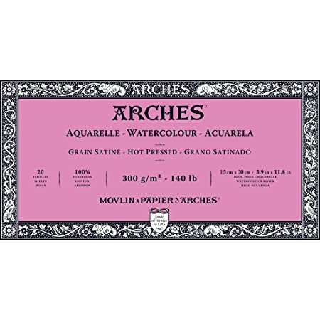 Hot Press Arches Watercolor Paper Block 140 pound 5.9 x 11.8