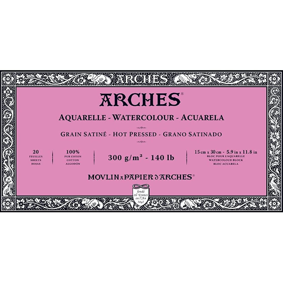 Arches Watercolor Paper Block, Hot Press, 5.9