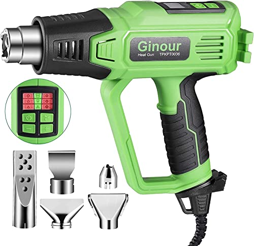 2021 Heat Gun Kit, Ginour 1500W Digital Soldering Heat Gun, Hot Air Gun 6 Temps (120-1110℉/50-600℃) 2 Speed outlet sale Settings, One-button Cooled to (120℉/ 50℃), 5 Nozzles for Blowing Carbon & Home Improvement online Work online