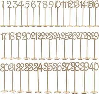 Tinksky 1-40 Wooden Table Numbers with Holder Base for Wedding Home Wedding Anniversary Party Decoration, Pack of 40