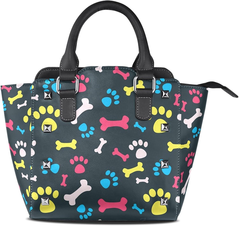 Sunlome Cat Dog Footprints and Bones Print Women's Leather Tote Shoulder Bags Handbags