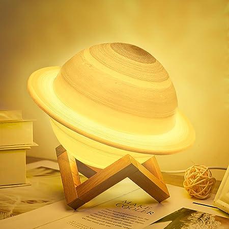Lampe de lune 3D, 16 couleurs LED moon lamp, Lampe Planète Saturne, Dimmable Veilleuse avec support en bois et filet suspendu, Télécommande et Contrôle Tactile, Rechargeable 15cm, Beau cadeau