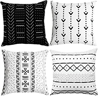 WLNUI Black Pillow Covers 18x18 Inch Set of 4 Boho Modern Square Throw Pillow Covers Geometric Mudcloth Linen Neutral Decorative Cushion Case for Sofa Couch Chair Farmhouse Decor