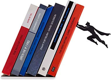 Artori Design Decorative Bookends for Shelf or Desk - Black Metal Book Ends - Superhero Bookend - Book Ends for Office - Cool