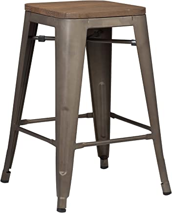 Poly and Bark Trattoria 24 Counter Height Stool with Elmwood Seat in Bronze