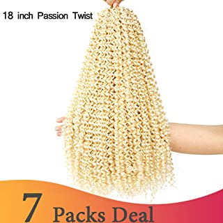 BaiHong Passion Twist Hair 7 packs 18 inch Water Wave Braiding Hair For Passion Twist StyleSynthetic Crochet Braiding Hair Extensions (18 inch, 613)
