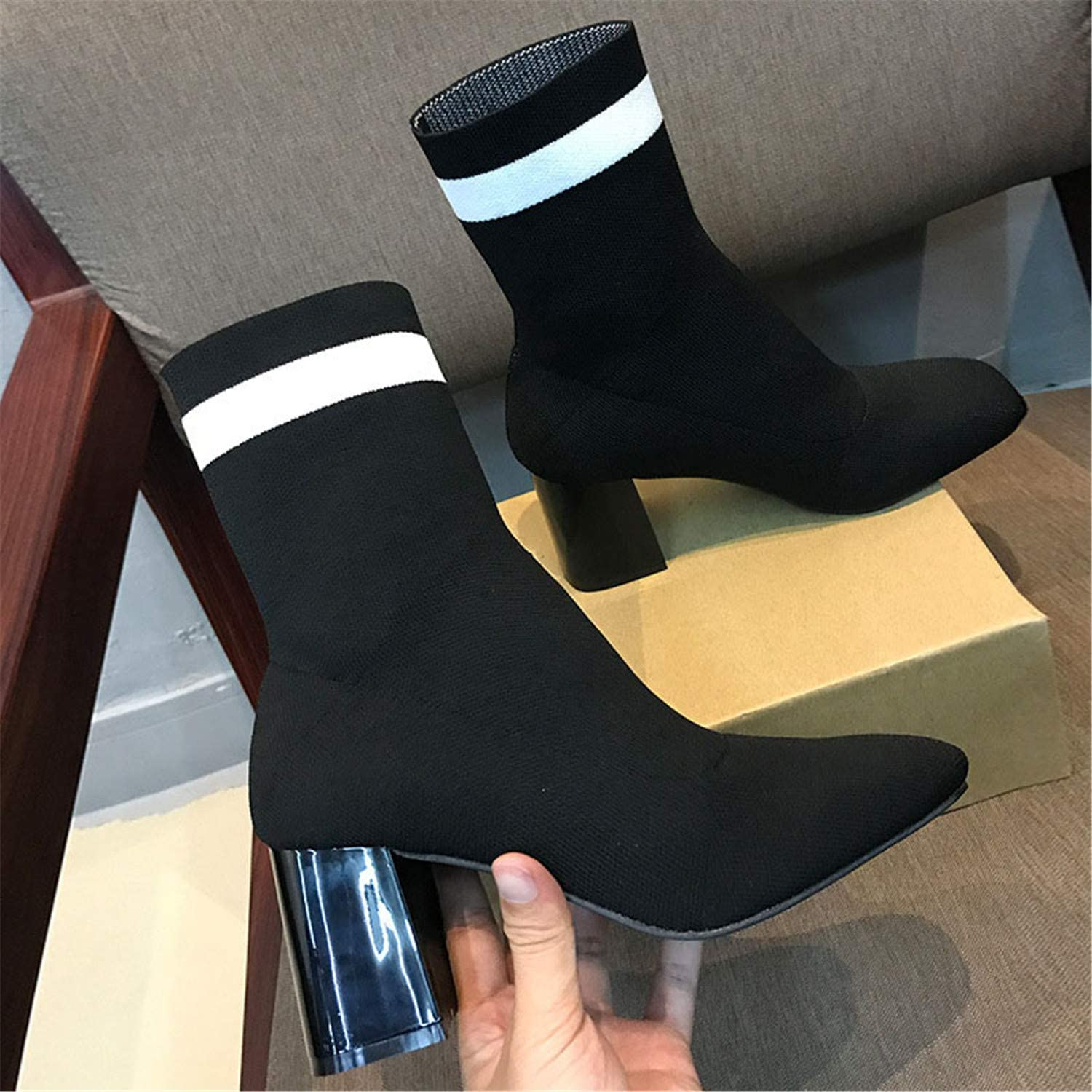 Leroyca Winter Women Sock Boots Square Toe High Heel Ankle Boots for Women Warm Plush Winter Boots