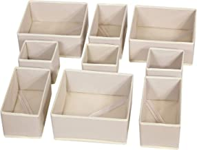 DIOMMELL 9 Pack Foldable Cloth Storage Box Closet Dresser Drawer Organizer Fabric Baskets Bins Containers Divider with Dra...