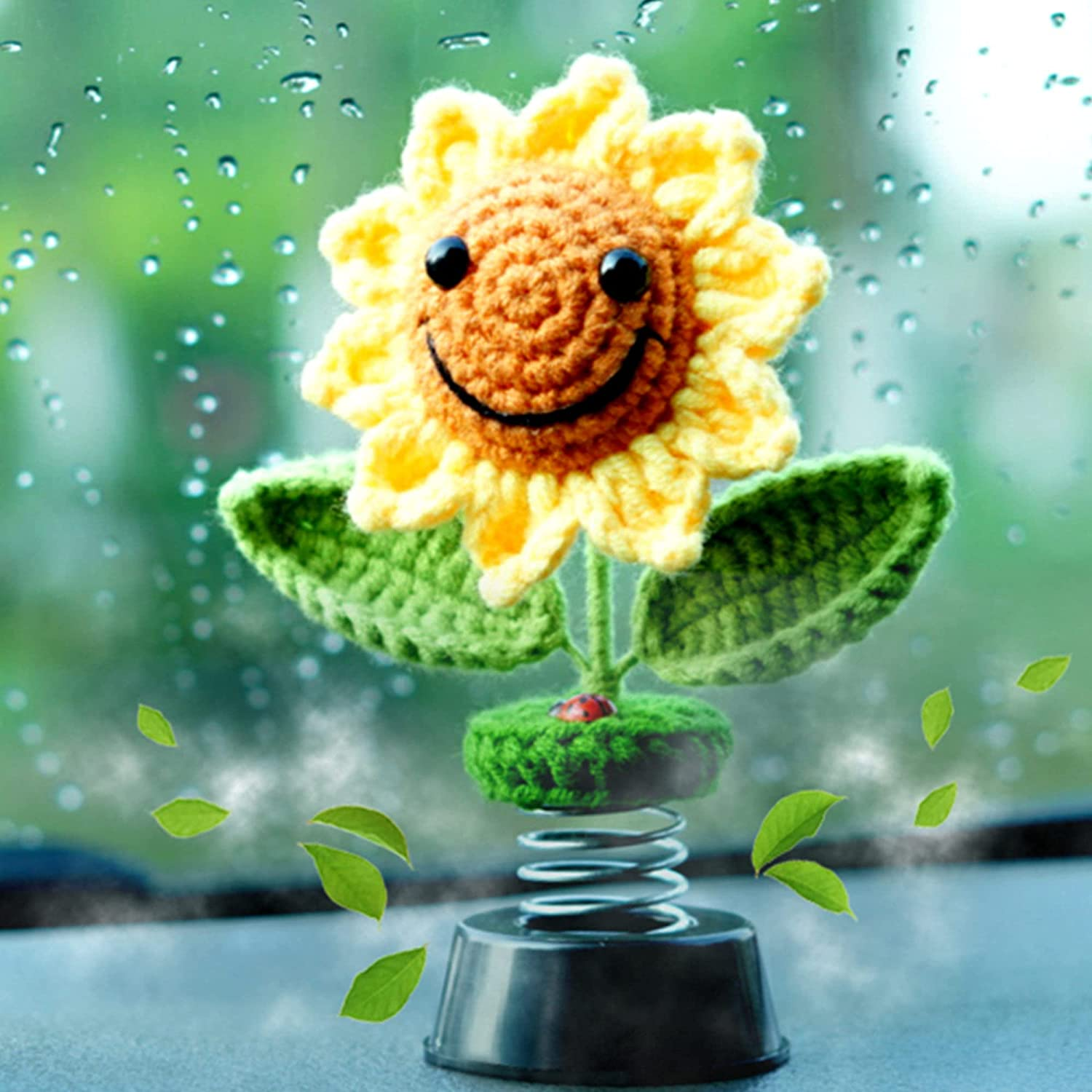 Sunflower Car Accessories Dashboard Decorations, Crochet Smiley Shaking Sun Flowers Beetle Fresheners Diffuser Car Decor for Women, for Cute Girl Car Interior Desk Ornaments Gifts (Handmade Knitted)