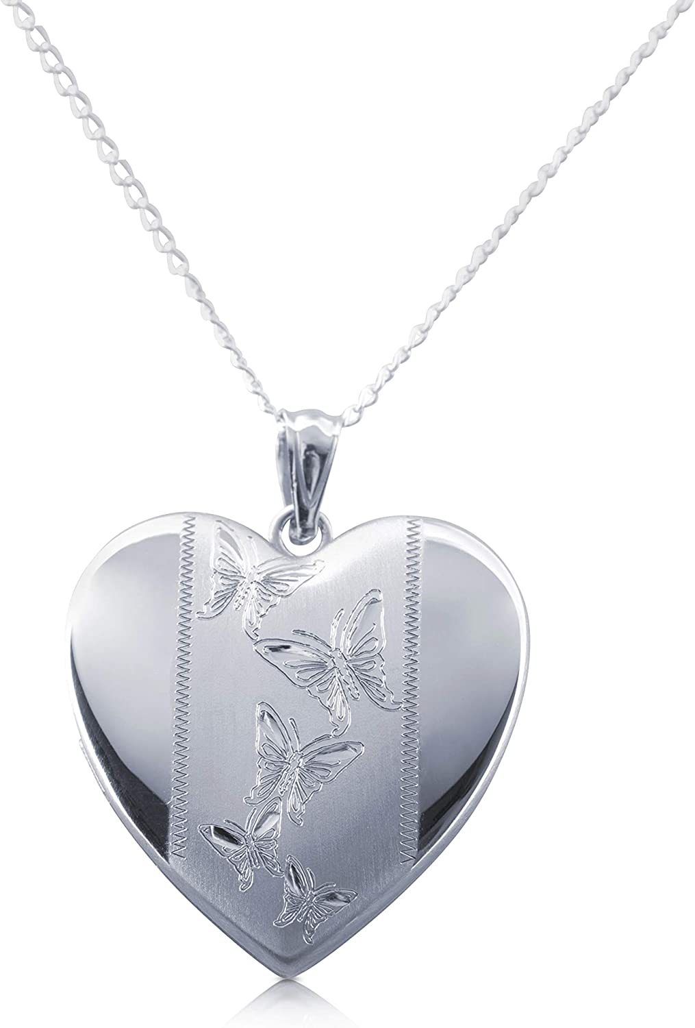 Sterling Max Very popular 64% OFF Silver Heart Locket Fashion Cable Inclu Chain Pendants