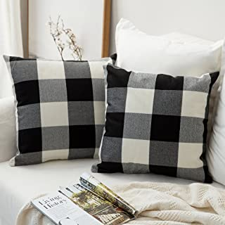 MIULEE Pack of 2 Classic Retro Checkers Plaids Cotton Linen Soft Soild Decorative Square Throw Pillow Covers Home Decor Design Cushion Case for Sofa Bedroom Car 20 x 20 Inch 50 x 50 cm